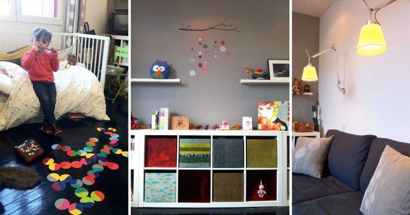 Rénovation d'un appartement ancien modernisé par parquet noir, chambre enfant avec appliques Tolomeo Artemide - Julie Béringué Architecte d'intérieur à Toulouse