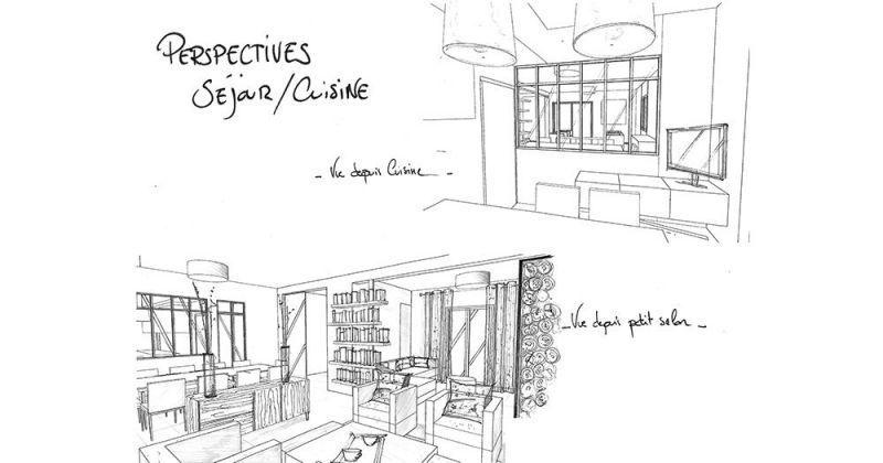 Embellissement d'une maison avec cuisine ouverte sur séjour par menuiserie style atelier en perspective, croquis - Julie Béringué Architecte d'intérieur à Toulouse
