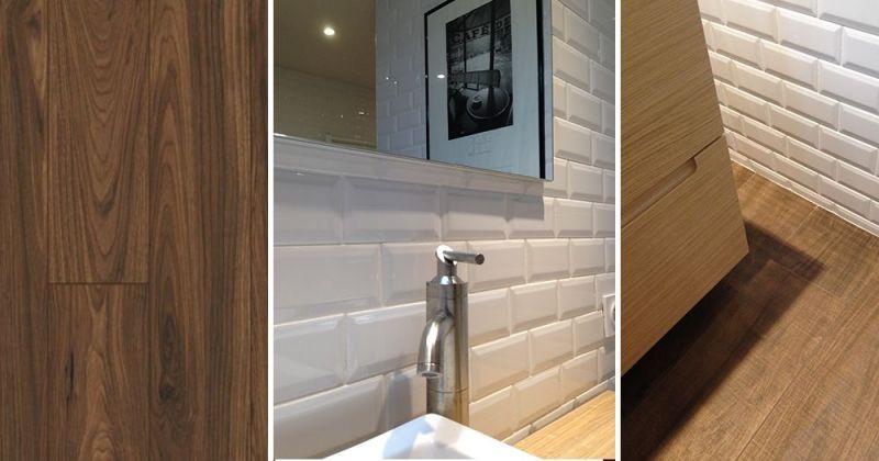 Salle de bain de plein pied esprit rétro avec carreaux métro blanc mural contraste avec sol carrelage imitation bois - Julie Béringué Architecte d'intérieur à Toulouse