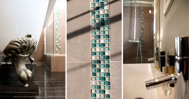 Rénovation d'un appartement ancien modernisé par parquet noir, grès cérame et mosaïque en carreaux de verre - Julie Béringué Architecte d'intérieur à Toulouse