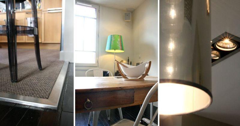 Rénovation d'un appartement ancien modernisé par parquet noir, décloisonnement avec cuisine ouverte, seuil métal, spots encastrés SLV by Déclic - Julie Béringué Architecte d'intérieur à Toulouse