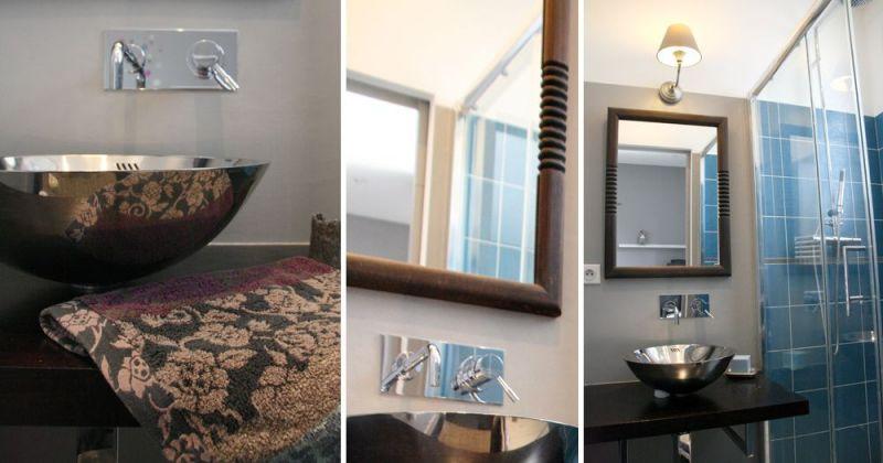 Rénovation d'un appartement ancien modernisé par parquet noir, placard transformé en salle d'eau - Julie Béringué Architecte d'intérieur à Toulouse