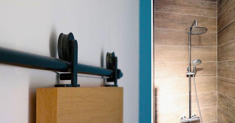 Embellissement d'une maison, transformation d'un placard en salle d'eau carrelage imitation bois Atlas Concorde - Julie Béringué Architecte d'intérieur à Toulouse